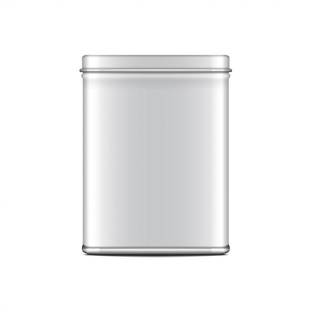 Rechteckige weiß glänzende blechdose. behälter für kaffee, tee, zucker, süßes, gewürz. realistische illustrationsverpackung Premium Vektoren
