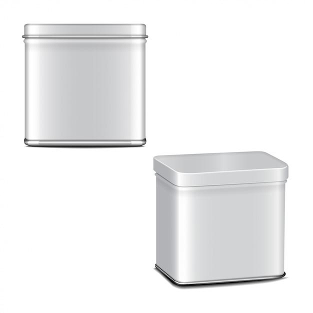 Rechteckige weiß glänzende blechdose. behälter für kaffee, tee, zucker, süßes, gewürz. realistisches illustrationsverpackungsset Premium Vektoren