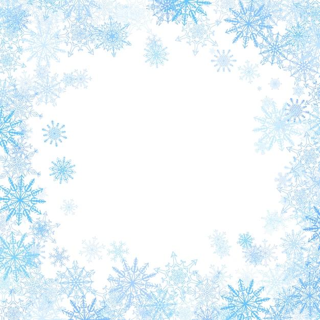 Rechteckiger rahmen mit kleinen blauen schneeflocken Premium Vektoren