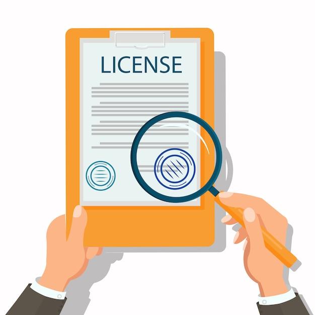 Rechtsanwalt checking legal document flat Premium Vektoren