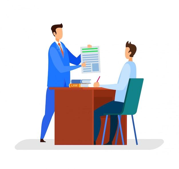 Rechtsanwalt, herausgeber office flat vector illustration Premium Vektoren