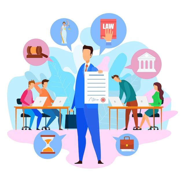 Rechtsanwalt holding paper Premium Vektoren