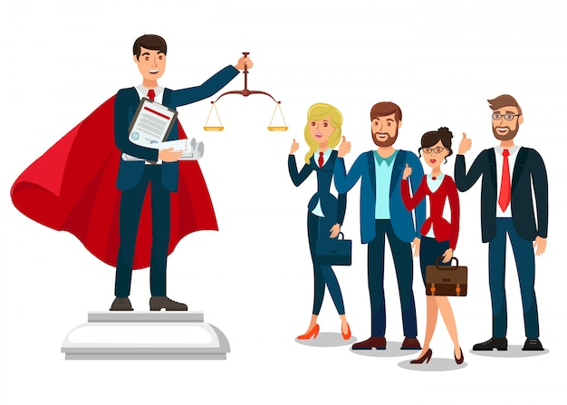 Rechtsanwalt school graduate flat illustration Premium Vektoren