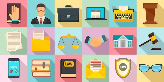 Rechtsanwaltikonen eingestellt, flache art Premium Vektoren