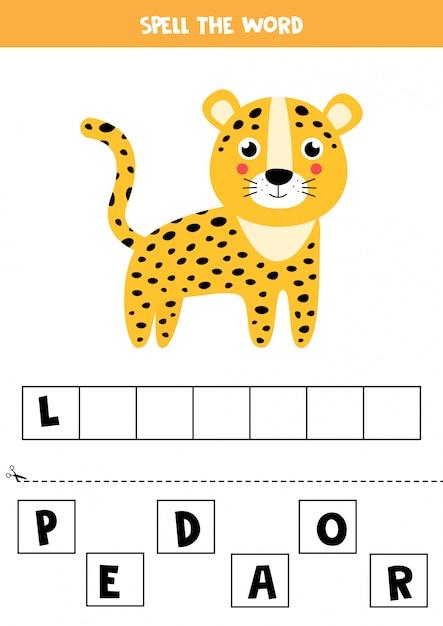 Rechtschreibspiel für kinder. netter karikaturleopard Premium Vektoren
