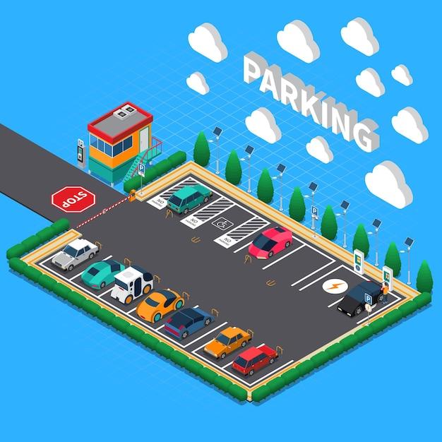 Rechtwinkliger parkplatz mit ökologischer aufladungsstallbegleiterstand-isometrischer zusammensetzung der elektrofahrzeuge Kostenlosen Vektoren