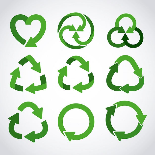 Recycling-icon-set Premium Vektoren
