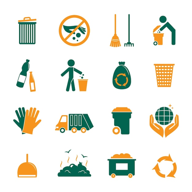 Recycling-ikonen-sammlung Kostenlosen Vektoren