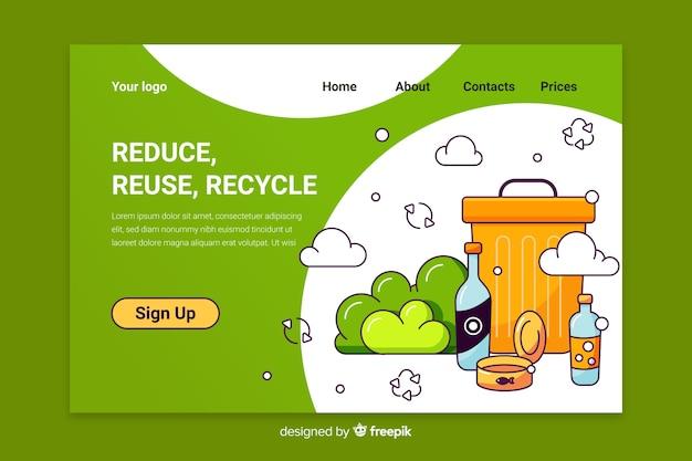 Recycling müll landing page vorlage Kostenlosen Vektoren