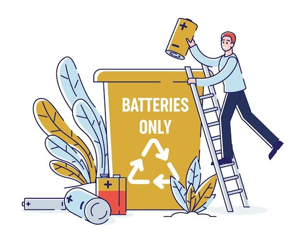 Recycling von gebrauchten batterien, konzept der reinigungsumgebung. Premium Vektoren