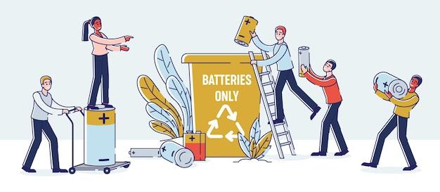 Recyclingkonzept für gebrauchte batterien. Premium Vektoren