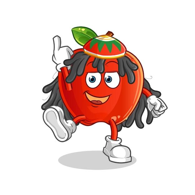 Red apple reggae boy cartoon maskottchen Premium Vektoren