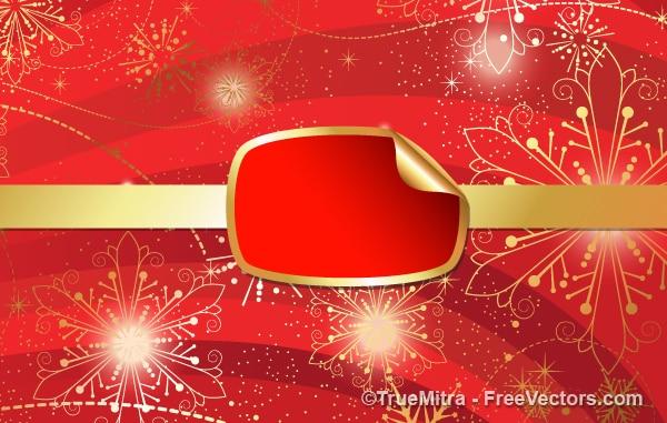 Red christmas banner mit gold schneeflocken Kostenlosen Vektoren