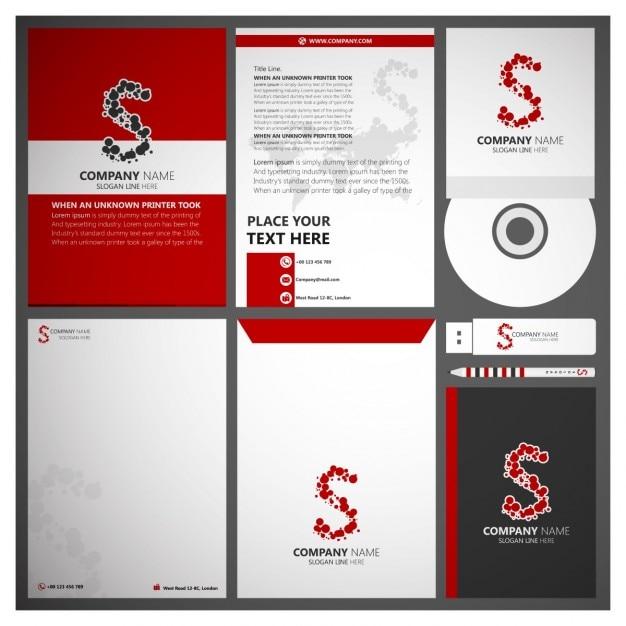 Red corporate branding Kostenlosen Vektoren