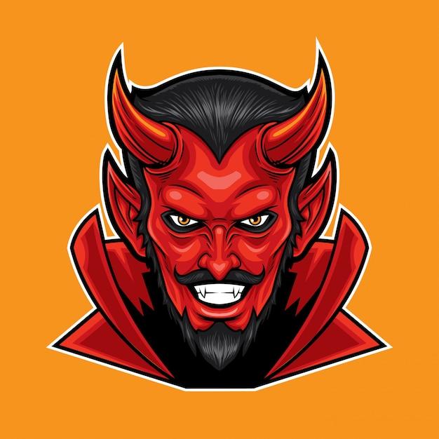 Red devil kopf maskottchen Premium Vektoren