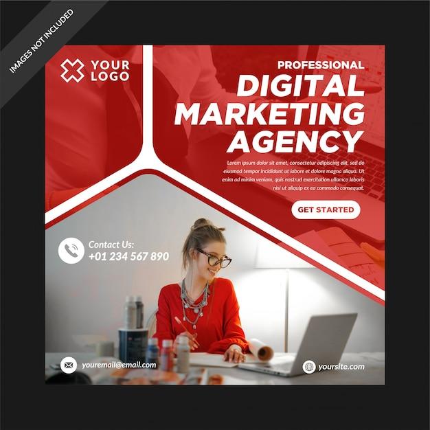 Red digital marketing social media post instagram Premium Vektoren