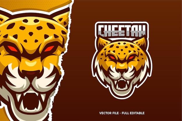 Red eye cheetah e-sport logo vorlage Premium Vektoren