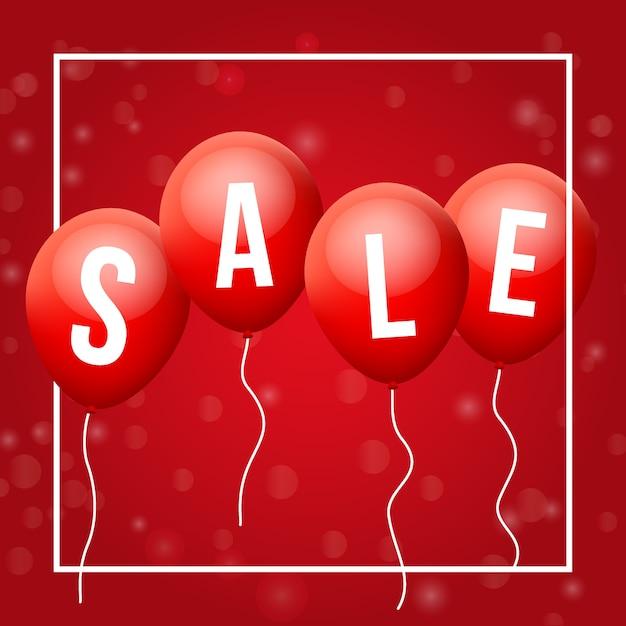 Red flying ballons, mit verkauf buchstaben Premium Vektoren