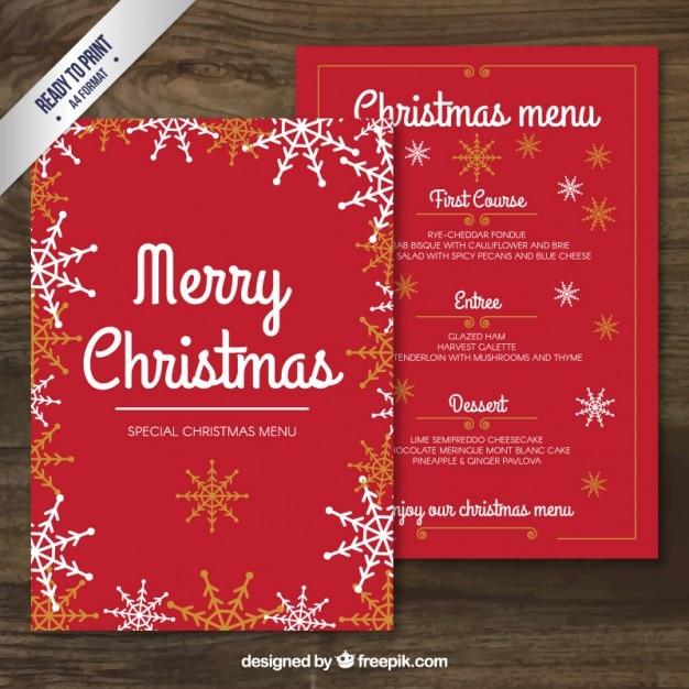Red frohe weihnachten Menüvorlage   Download der kostenlosen Vektor