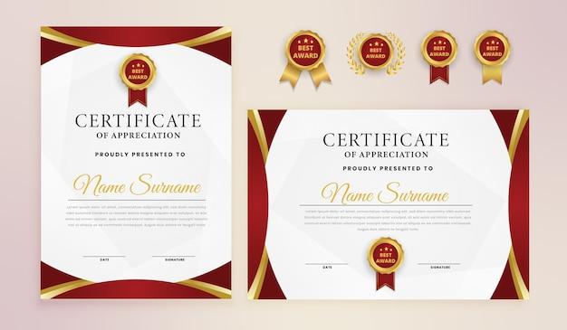 Red gold elegant award zertifikatvorlage Premium Vektoren