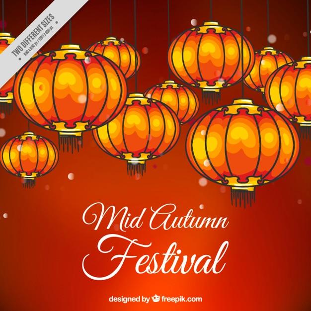 Red hintergrund mid-autumn festival mit laternen Kostenlosen Vektoren