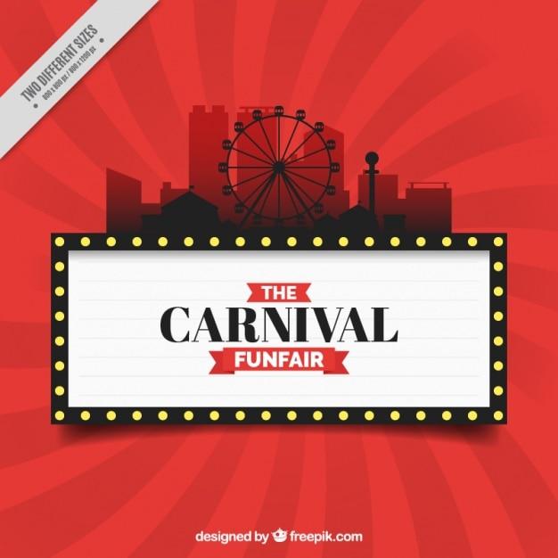 Red karneval hintergrund mit kirmes silhouette Kostenlosen Vektoren