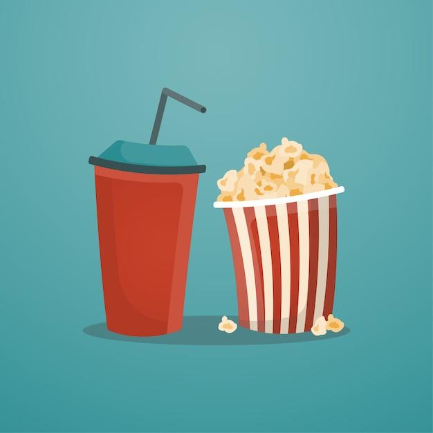 Red paper soda cup und popcorn-eimer Premium Vektoren