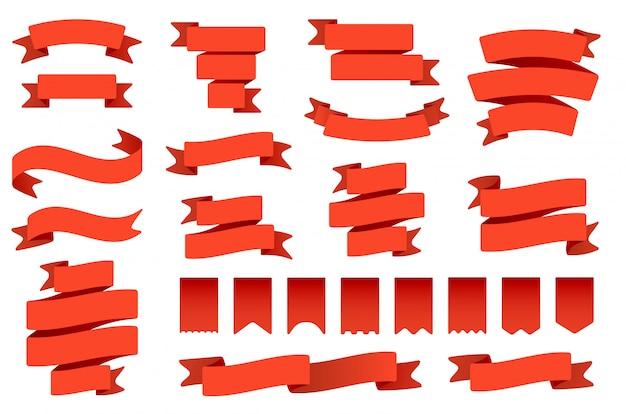 Red ribbon banner und flaggen. retro biegeband, vintage bannerflagge und gebogenes bannerset. sammlung von wimpeln, etiketten und luftschlangen. zeremonielle banderole und fahnenartige gegenstände Premium Vektoren