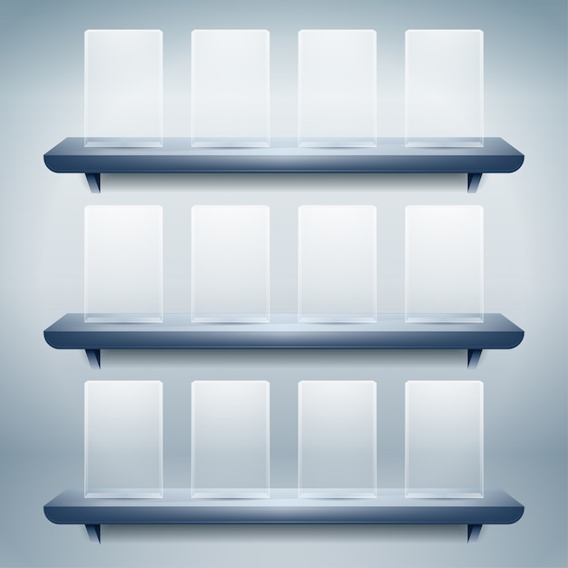 Regal für ausstellung mit leeren glasknöpfen Premium Vektoren