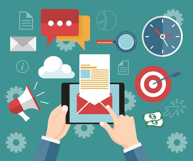 Regelmäßig veröffentlichte nachrichten per e-mail Premium Vektoren