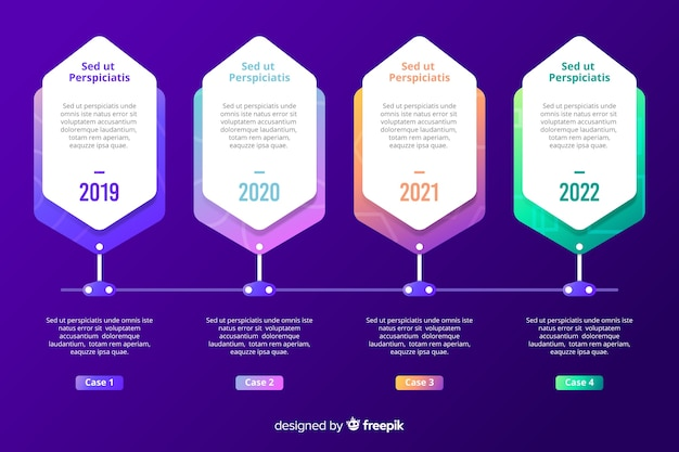 Regelmäßige infografik marketing schritte vorlage Kostenlosen Vektoren
