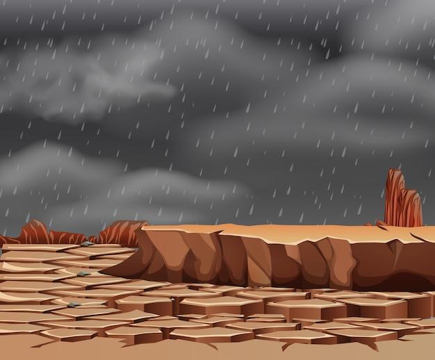 Regen im dürren land Premium Vektoren