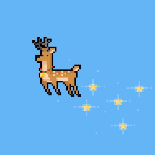 Regen-rotwildcharakter der pixelkunstkarikatur fliegenden mit stern. Premium Vektoren