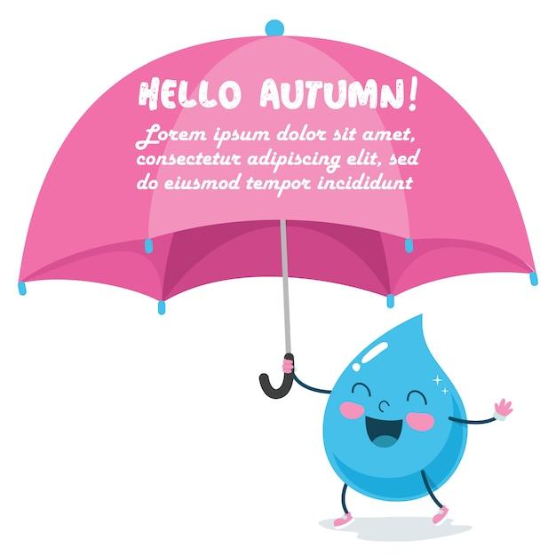 Regen-tropfen-charakter mit einem großen rosa regenschirm Premium Vektoren
