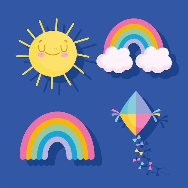 Regenbogen-drachen- und sonnenikonen-vektorillustration Premium Vektoren