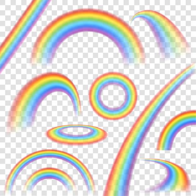 Regenbogen in realistischem satz der unterschiedlichen form auf transparenten hintergrund Kostenlosen Vektoren