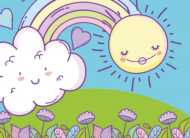 Regenbogen mit kawaii wolke und glücklicher sonne Premium Vektoren
