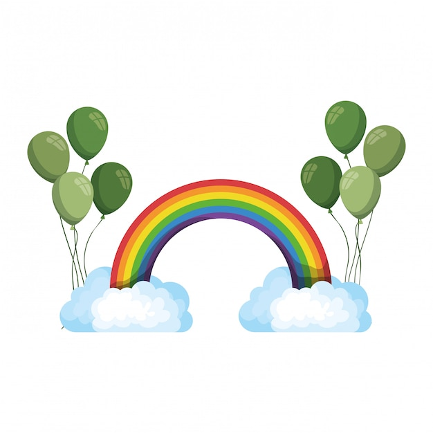 regenbogen mit wolken lokalisiertes symbol  premiumvektor