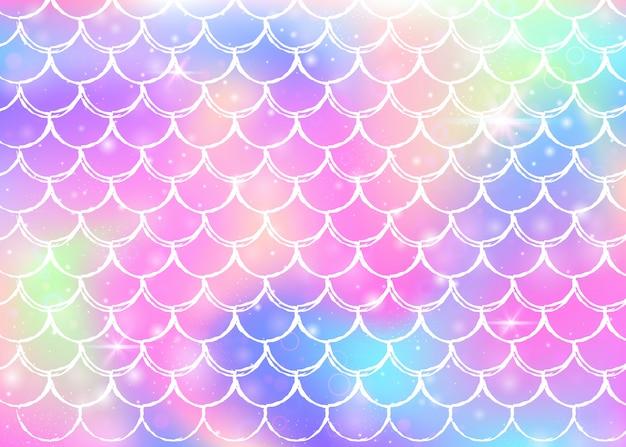 Regenbogen stuft hintergrund mit kawaii meerjungfrauprinzessinformen ein Premium Vektoren