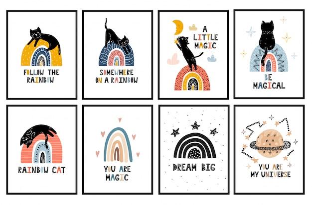 Regenbogen und katzen kinderzimmer poster sammlung. wandkunst mit niedlichen schwarzen kätzchen gesetzt Premium Vektoren