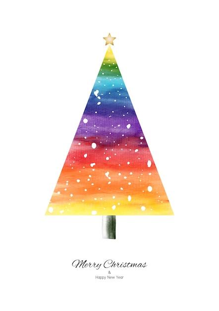 Regenbogenaquarell-weihnachtsbaum mit fallendem schnee handgemalt lokalisiert auf weißem hintergrund. Premium Vektoren