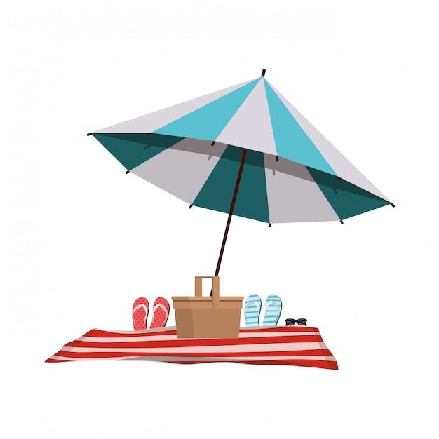 Regenschirm mit strandkorb in weiß gestreift Kostenlosen Vektoren