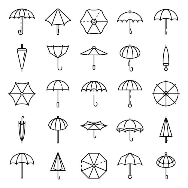 Regenschirmikonen eingestellt, entwurfsart Premium Vektoren