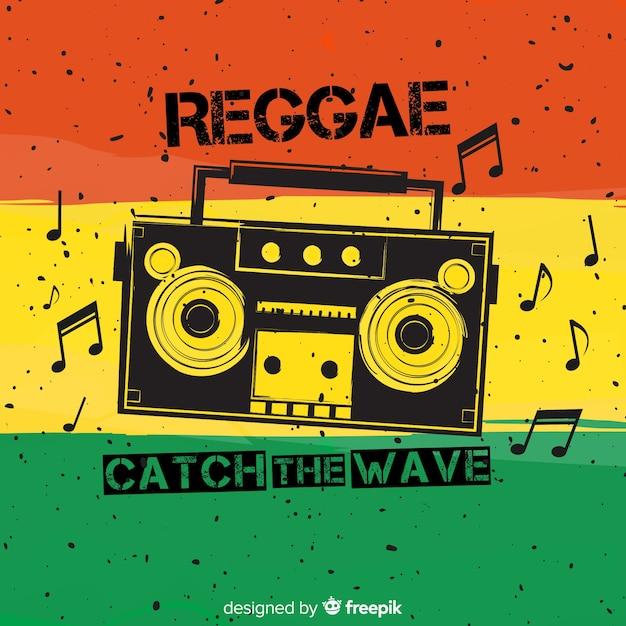Reggae-art hintergrund mit musik Kostenlosen Vektoren