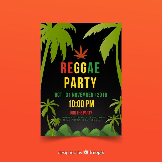Reggae-party-flyer Kostenlosen Vektoren