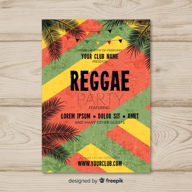 Reggae-party-flyer Kostenlosen Vektoren