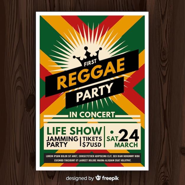 Reggae party nacht flyer Kostenlosen Vektoren