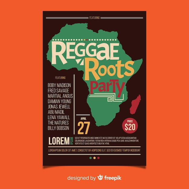Reggae-wurzel-partyflieger Kostenlosen Vektoren