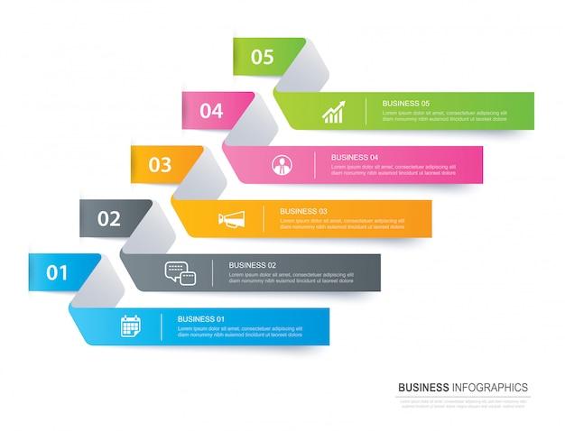 Registerkarte infografiken im horizontalen papierindex mit 5 datenvorlage. Premium Vektoren