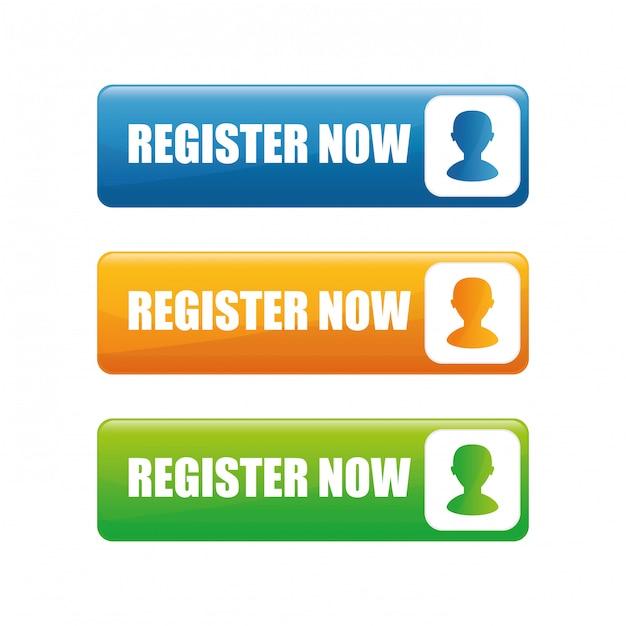 Registrieren sie sich jetzt design. Premium Vektoren